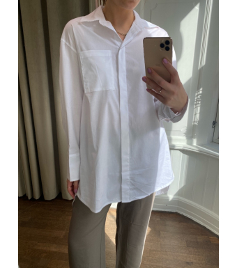 Tiffany Ella Crinkle Shirt Cotton Poplin, White