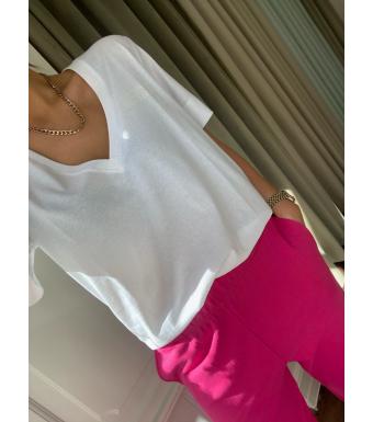 Ganni T2918 V-neck T-shirt Thin Software Jersey, 001 White