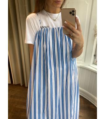 Ganni F5976 Strap Dress Stripe Cotton, 572 Daphne