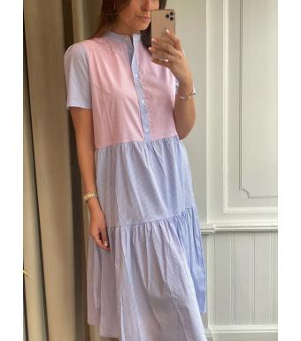 Noella Lipe Dress Cotton Poplin, Blue/rose Stripe