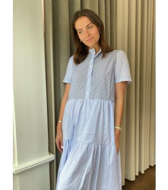 Noella Lipe Dress Cotton Poplin, Navy/blue Stripes