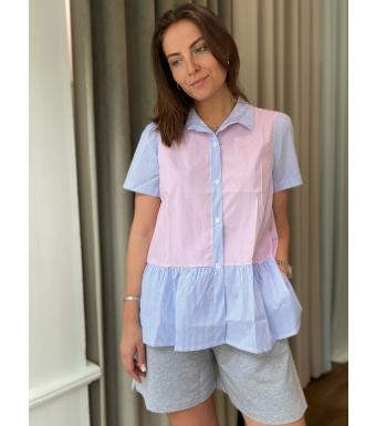 Noella Lipe Top Cotton Poplin, Blue/rose Stripe