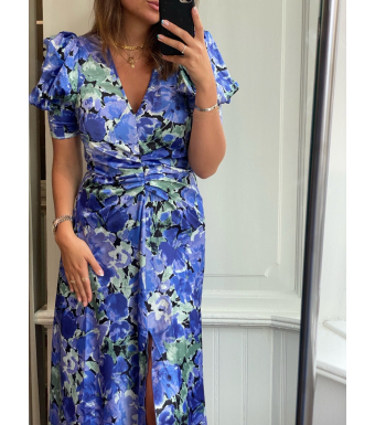 Rotate Sierina Slit Dress, Baja Blue Comb.