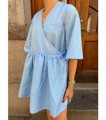 Ganni F5996 Wrap Dress Crispy Tafetta, 574 Airy Blue