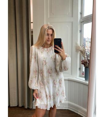 Ganni F6237 Mini Dress Pleated Georgette, Egret