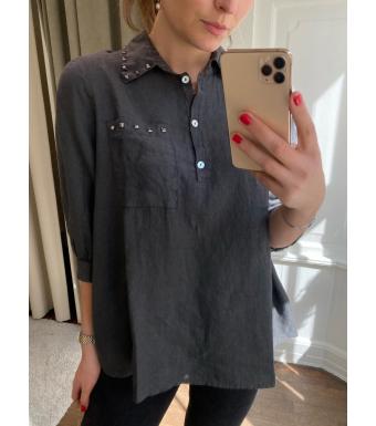 Tiffany Anna Stud Blouse Linen, Antracit Grey