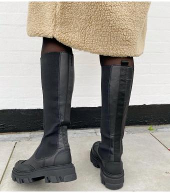 Ganni S1755 High Chelsea Boot Calf Leather, 099 Black
