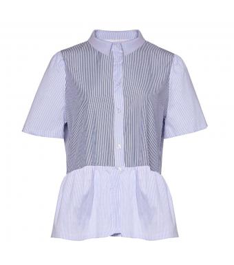 Noella Lipe Top Cotton Poplin, Navy/blue Stripe