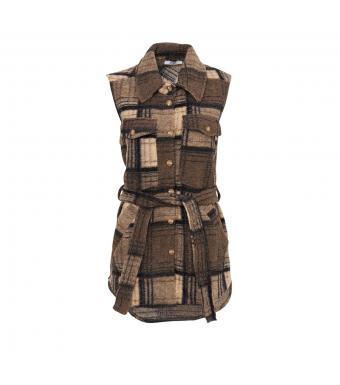 Tiffany Valley Short Waistcoat Wool, Beige/dark Natur