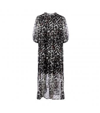 Tiffany Elsa Dress Silk Viscose, Brown/Grey Leo