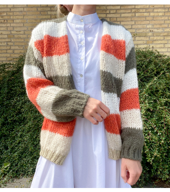 Noella Kala Cardigan, Green/orange Stripe