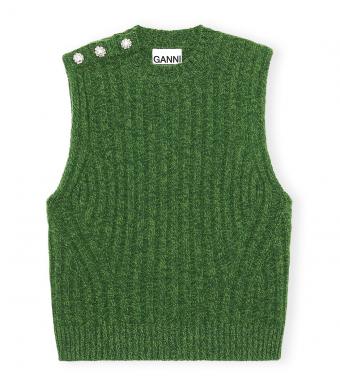 Ganni K1574 Vest Wool Mix, 801 Kelly Green