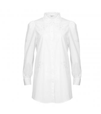 Noella Lucille Long Shirt Cotton, White Lace
