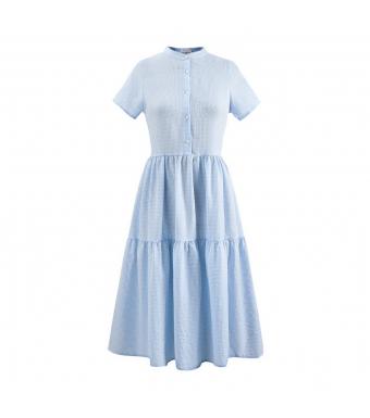 Noella Lipe Dress Short Sleeve Seersucker, Light Blue Cheks