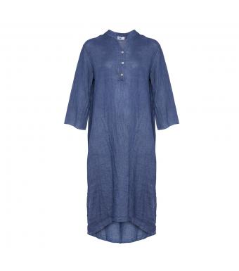 Front af blå skjortekjole i ekstra lang