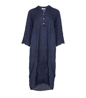 Tiffany 18970 Shirt Dress Linen, Blue Navy