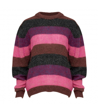 Tiffany Scalo Blouse Stripe Strik, Red/violet Stripes