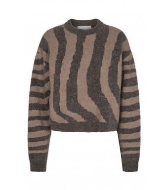 Remain Cami Ls O-neck Zebra Print, Major Brown Combo
