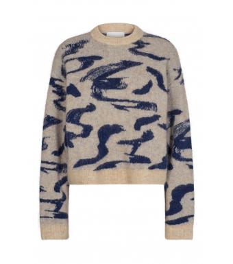 Remain Cami Ls O-neck Stroke Print, Twilight Blue Comb