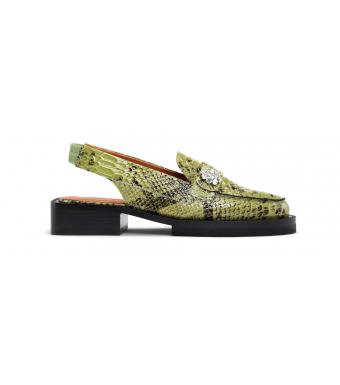 Ganni S1517 Loafers Embossed Snake, 780 Olive Drab