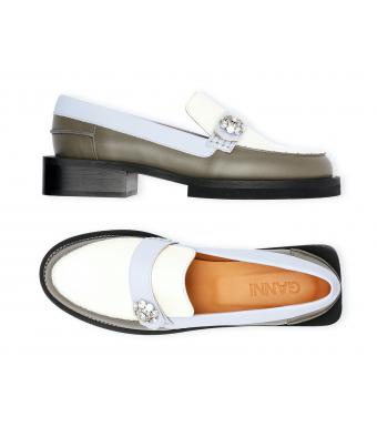 Ganni S1603  Mocassin Calf Leather, Vanilla Ice