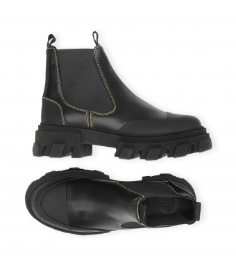 Ganni S1751  Low Chelsea Boot Calf Leather, 099 Black