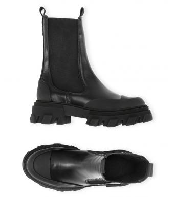 Ganni S1753 Mid Chelsea Boot Calf Leather, 099 Black
