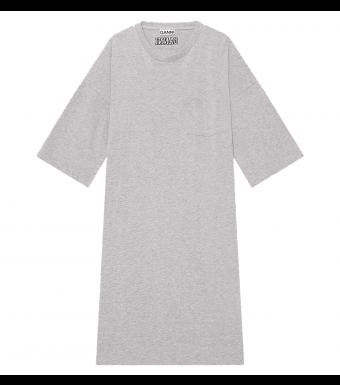 Ganni T2787 Relaxed T-shirt Dress Software Jersey, 921 Paloma Melange