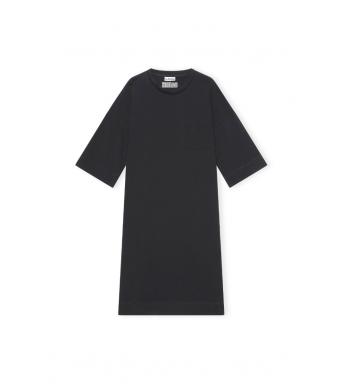 Ganni T2787 Relaxed T-shirt Dress Software Jersey, 099 Black