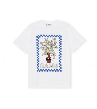Ganni T2799 T-shirt Basic Cotton Jersey, 151 Bright White