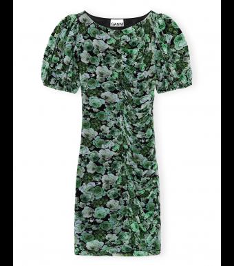 Ganni T2808 Mini Dress Printed Mesh, 801 Kelly Green