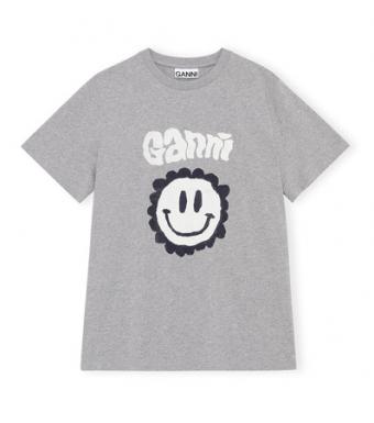 Ganni T2873 T-shirt Basic Cotton Jersey, Paloma Melange