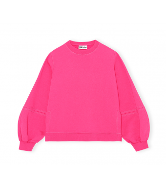 Ganni T2909 Puff Sleeve Sweatshirt Software Isoli, 483 Shocking Pink