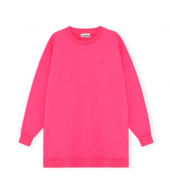 Ganni T2910 Oversized Sweatshirt Software Isoli, 483 Shocking Pink