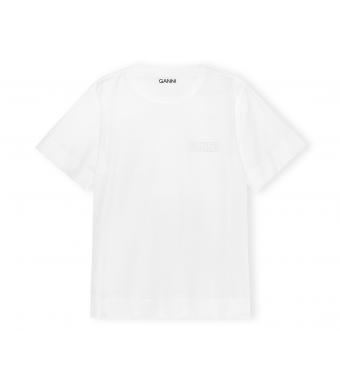 Ganni T2917 O-neck T-shirt Thin Software Jersey, 001 White