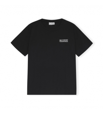 Ganni T2917 O-neck T-shirt Thin Software Jersey, 099 Black