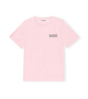 Ganni T2917 O-neck T-shirt Thin Software Jersey, 465 Sweet Lilac
