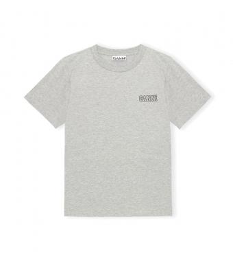 Ganni T2917 O-neck T-shirt Thin Software Jersey, 921 Paloma Melange