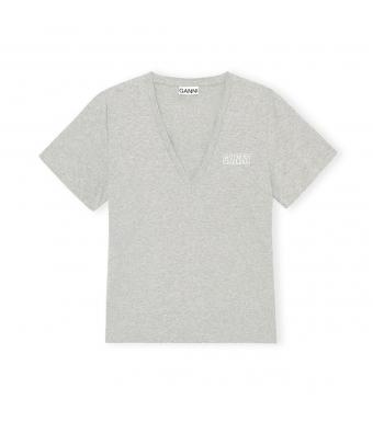 Ganni T2918 V-neck T-shirt Thin Software Jersey, 921 Paloma Melange