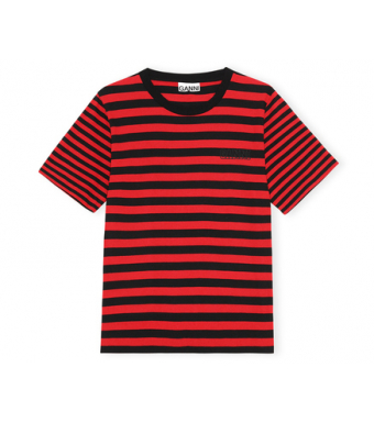 Ganni T2960 O-neck Thin Stripe Thin Software Striped Jersey, 472 High Risk Red
