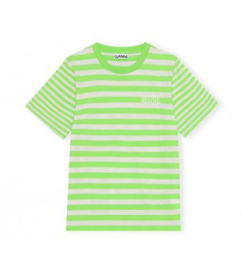 Ganni T2960 O-neck Thin Stripe Thin Software Striped Jersey, 783 Flash Green