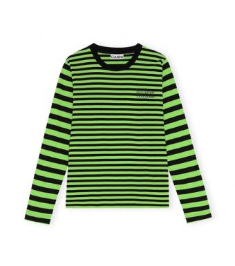 Ganni T2962 O-neck T-shirt L/s Thin Software Striped Jersey, 783 Flash Green