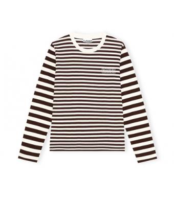 Ganni T2962 O-neck T-shirt L/s Thin Software Striped Jersey, 897 Mole