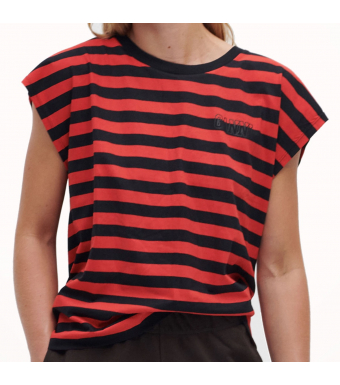 Ganni T2964 Sleeveless O-neck Thin Software Striped Jersey, 472 High Risk Red