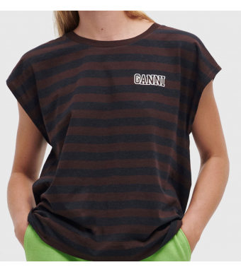 Ganni T2964 Sleeveless O-neck Thin Software Striped Jersey, 897 Mole