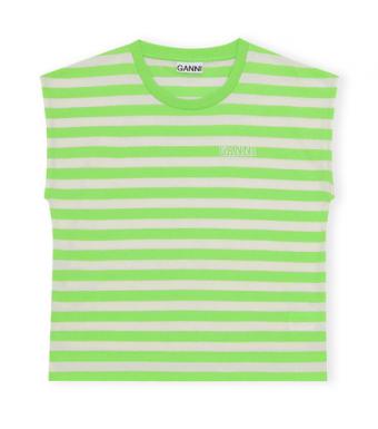 Ganni T2964 Sleeveless O-neck Thin Software Striped Jersey, 783 Flash Green