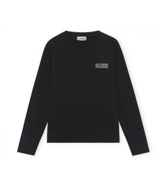 Ganni T2983 O-neck T-shirt L/s Thin Software Jersey, 099 Black