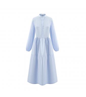 Noella Lipe Long Dress, Blue Stripe