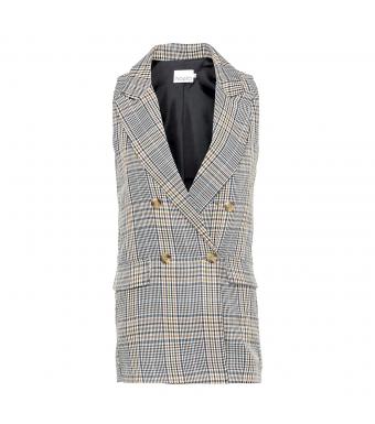 Noella Forte Checked Waistcoat, Blue/grey Checks