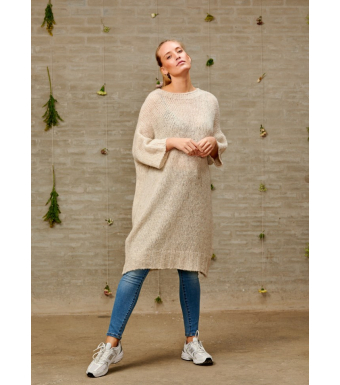 Noella Kala Dress Short Sleeve Wool, Oatmeal